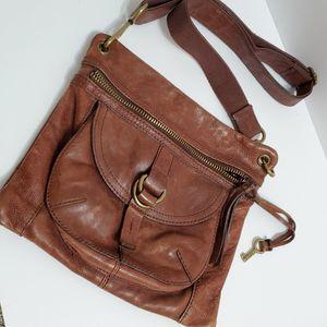 Vtg Fossil Brown Leather Shoulder Crossbody Bag